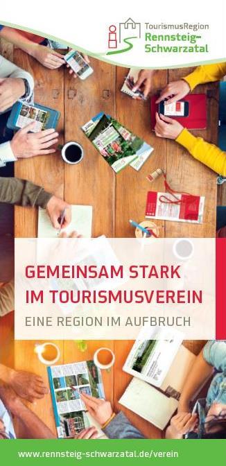 Der regionale Tourismusverein Rennsteig-Schwarzatal stellt sich vor - druckfrischer Flyer zur Tourismuskonferenz